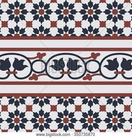 Geometrical Seamless Pattern Background. Vintage Peranakan Tiles Pattern In Georgetown Penang. Peran