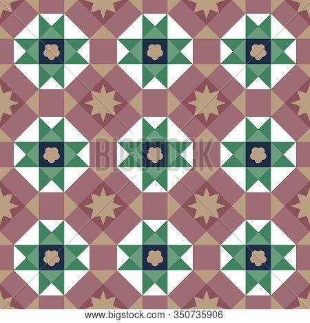 Vintage Peranakan Tiles Pattern In Georgetown Penang. Peranakan Cultural Tile Pattern. Baba & Nyonua