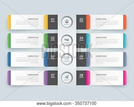 8 Data Infographics Tab Paper Index Template. Vector Illustration Abstract Background. Can Be Used F