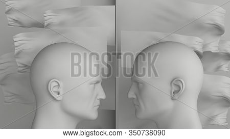 3d Illustration Two Man Heads Against Each Other, Arguing and Threatening, Concept of Business Situation, Two Businessman Fighting, Debate Opponents, Conflict of Interest