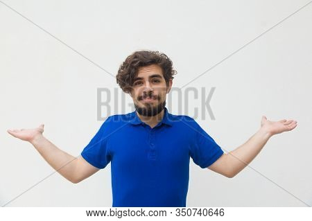 Bearded Young Man Shrugging Shoulders. Stylish Guy Making Unsure Gesture. Unsure Concept