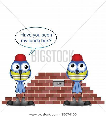 Comical construction workers and missing lunch box poster