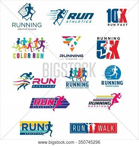 Set Of Run Logo Design Vector Stock Symbol .running Logo Sport Concept . Running Marathon Logo Desig