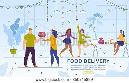 Food And Snack Delivery Online Service. Girls Ordering Fresh Baked Sweet Glazed Donuts For Hen-party
