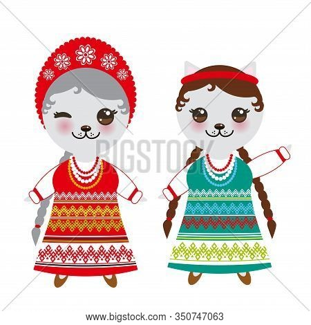 Slavic Girl In Green Red Sundress And White Shirt With Embroidery, Hair Braided Two Braids Kawaii Ca