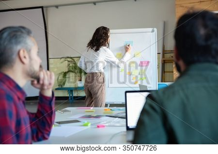 Managing Director Explaining Strategy To Coworkers. Confident Businesswoman Standing Near Board With
