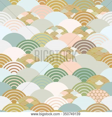 Seigaiha Or Seigainami Literally Means Wave Of The Sea. Seamless Pattern Abstract Scales Simple Spri