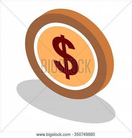 Isometric Coin Vector Golden Finance Money Cash And Gold Metal Treasure Icon Investment Illustration