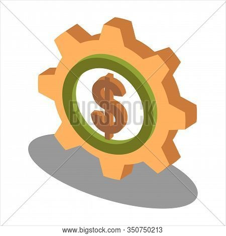 Gear Dollar Coin Icon Vector. Outline Gear Dollar Coin Sign. Isolated Contour Symbol Illustration  S