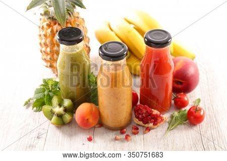 fruit juice in bottle and ingredient