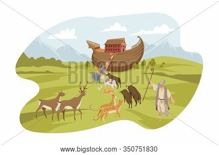 Noahs Ark, Bible Concept. Noah Calls Every Animal On His Ark. Biblical Illustration Of World Flood M