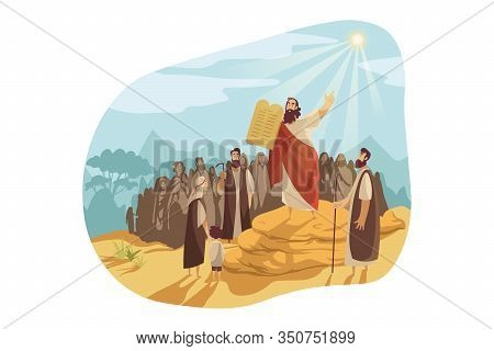 Moses With Gods Tablets, Bible Concept. Prophet Moses Demonstrates To People Of Israel Stone Tablets