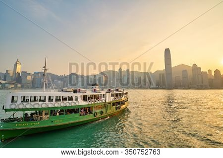 HONG KONG, CHINA - CIRCA JANUARY, 2019: the Star Ferry crossing Victoria Harbour. The Star Ferry is a passenger ferry service operator and tourist attraction in Hong Kong.