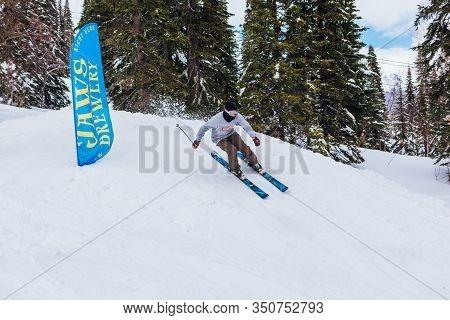 Sheregesh, Kemerovo Region, Russia - April 08, 2019: Jaws Slash Camp Is A Snowboard And Mountain Ski