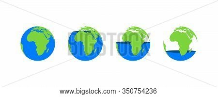 Blue Water Environmental Problem Water Level. Vector Flat