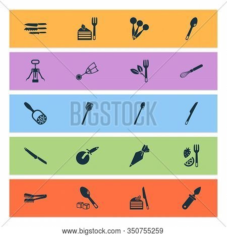 Utensil Icons Set With Tomato Knife, Corkscrew, Cutlery And Other Turner Elements. Isolated Vector I