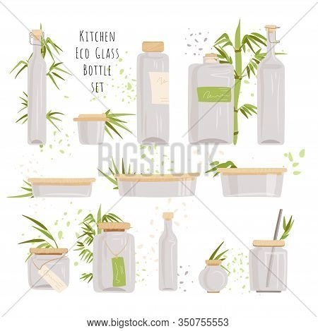 Vector Set Of Glass Rectangular Glass Containers - Food Storage Containers With Eco-friendly Bamboo