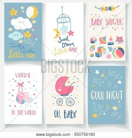 Set Of Baby Cards. Good Night, Twinkle Star, Sweet Dream, Welcome, Baby Shower. Hand Lettering