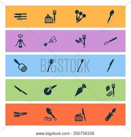 Kitchenware Icons Set With Tomato Knife, Corkscrew, Cutlery And Other Turner Elements. Isolated Illu