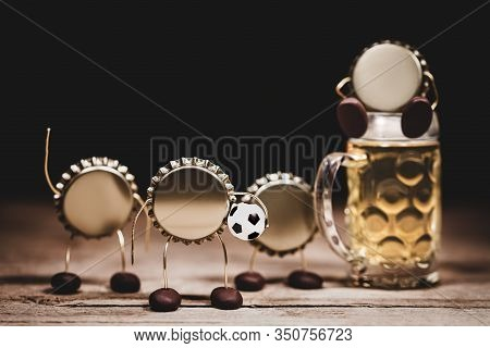 Crown Cork Or Bottle Caps Miniature Figures With A Soccer Football And A Beer Glass, Hilarious Conce