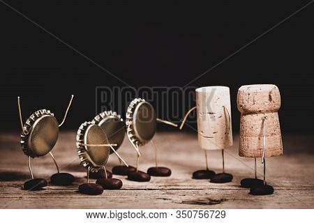 Crown Cork, Wine And Champagne Cork Miniature Figures With A Handshake, Hilarious Conceptual Scene F