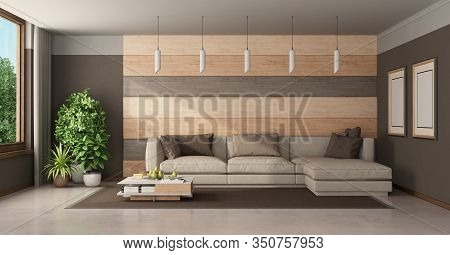 Contemporary Living Room With Sofa Against Wooden Paneling And Brown Wall - 3d Rendering
