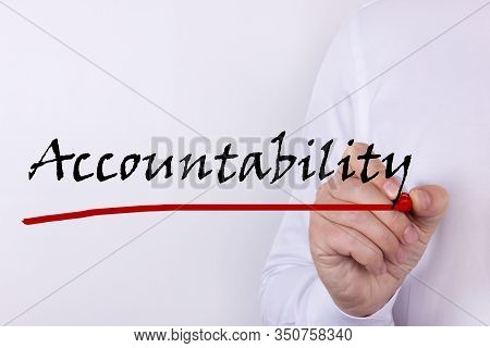 Hand Writing Inscription Accountability With Marker Concept