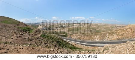 Jerusalem, Israel, January 25, 2020 : Panoramic View Of The Hills Of Samaria With Villages And Jerus