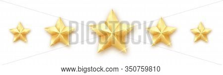 5 Gold Stars. Quality Star Rating. Five Golden Rating Star. Vector Set Of Gold Stars.