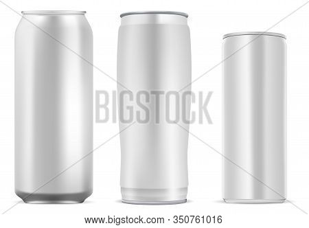 Aluminum Can For Coffee, Juice, Soda Drink. Still Metal Tin Mockup Template For Cold Lemonade Bevera