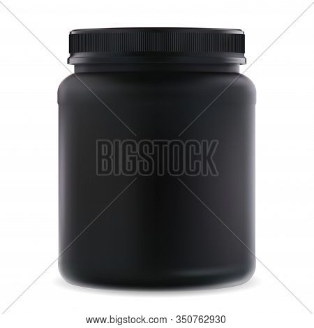 Black Supplement Jar. Protein Sport 3d Container. Bcaa Amino Acids Can Blank. Round Bodybuilding Cre