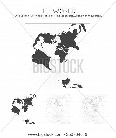Map Of The World. Transverse Spherical Mercator Projection. Globe With Latitude And Longitude Lines.