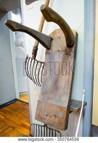 Novorossiysk, Russia - August 01, 2019: Wooden Goat For Carrying Bricks,