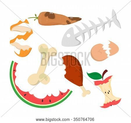 Food Garbage Vector Isolated. Organic Waste. Apple Core