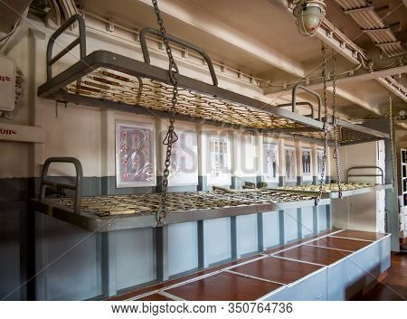 Novorossiysk, Russia - August 01, 2019: Hanging Beds In A Sailor's Cockpit, The Cruiser