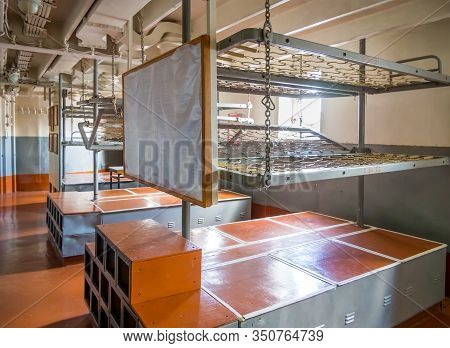 Novorossiysk, Russia - August 01, 2019: The Interior Of The Cockpit For Personnel Of The Ship-museum
