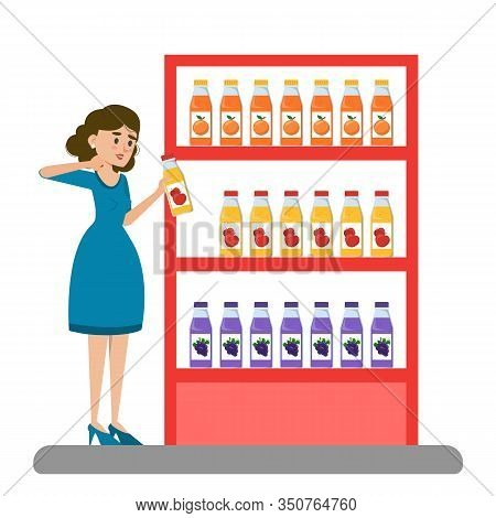 Woman Choose Juice In The Supermarket Vector Isolated.