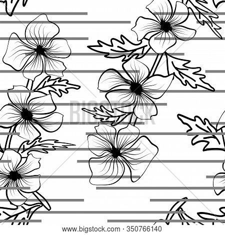 Modern Black Outlines Of Flowers, Great Design For Any Purposes. Floral Texture Repeat Modern Patter