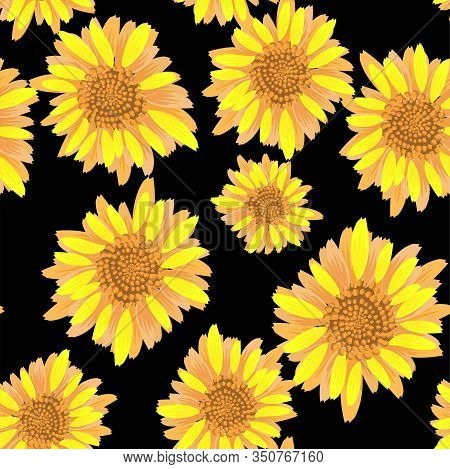 Beautiful Seamless Pattern With Yellow Sunflowers On Black Background. Seamless Vector Pattern. Deco