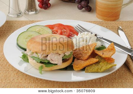 Tuna Sandwich On A Bagel With Tortilla Chips