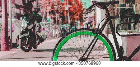 Color Inversion Artistic Concept Picture Of Vintage Cycle Vehicle Object Outside On Street In Sunny