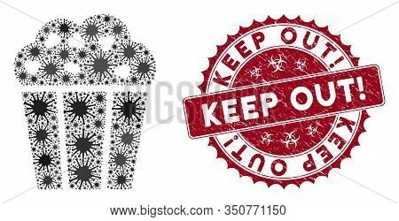 Coronavirus Mosaic Popcorn Bucket Icon And Rounded Corroded Stamp Watermark With Keep Out Exclamatio