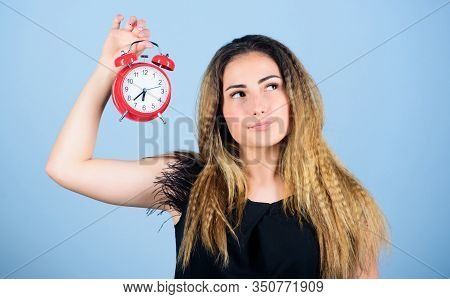 Asleep And Awake. Time Management. Time Zone. Punctuality And Discipline. Girl Hold Alarm Clock. Reg