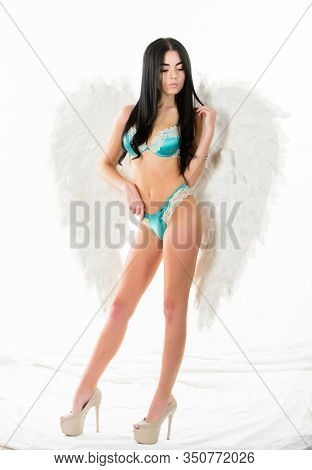 Delicate Sensual Woman Posing With Angel Wings. Fashion Model. Girl Wear Lingerie And Angel Wings Ac