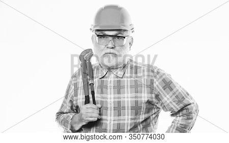 Repair Concept. Sanitary Engineering. Experienced Engineer. Plumber Repairing Or Renovating. Home Im