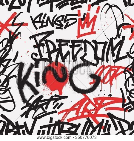 Graffiti Seamless Pattern In Black And Red Color Isolated On White Background. Abstract Graffiti Tag