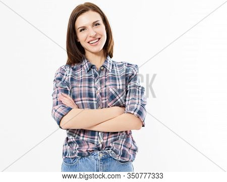 Casual Friendly Girl With Crossed Arms Isolated On White, Woman Crossed Arms Standing Against White.