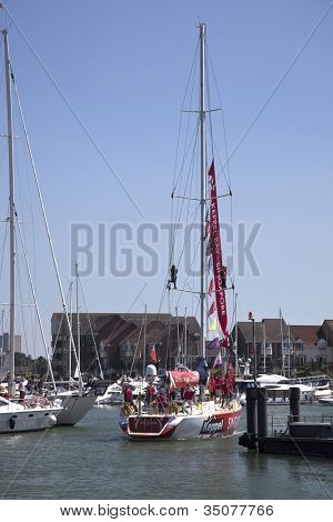 OCEAN VILLAGE, SOUTHAMPTON UK - JULY 22: Clipper Round the World Yacht Race third placed Keppel Bay arrives in Southampton. 22 July 2012