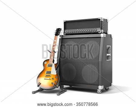 Musical Instrument Guitar And Speaker 3d Render On A White Background