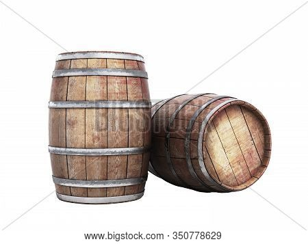 Wooden Barrels For Wine Or Wiskey 3d Illustration On White No Shadow